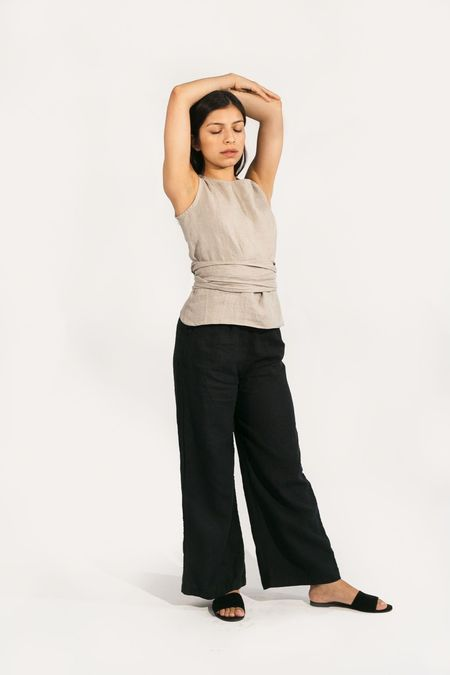 Two Fold Clothing Misako Linen Top - Flax