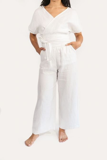 Two Fold Clothing Clara Short Sleeve Linen Top - Ivory