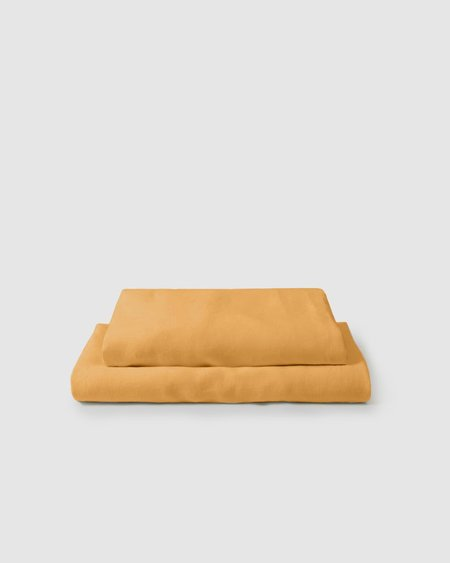 Shop Sunday Morning Marcel Linen Sheet Set - Mustard