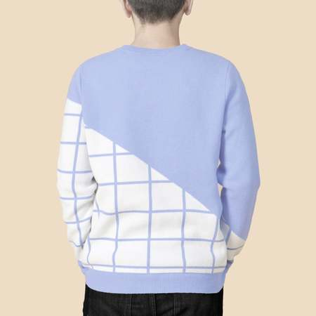 Unisex MATTER MATTERS Grids Crew Neck Wool and Cashmere-Blend Pullover - Slate Blue