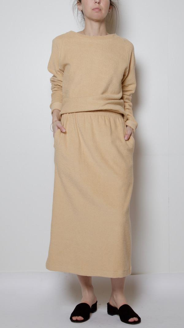 Baserange Terrycloth Sweat Skirt in Ecru Melange