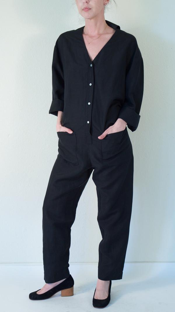 Horses Atelier V-Neck Patch Pocket Jumpsuit in Black