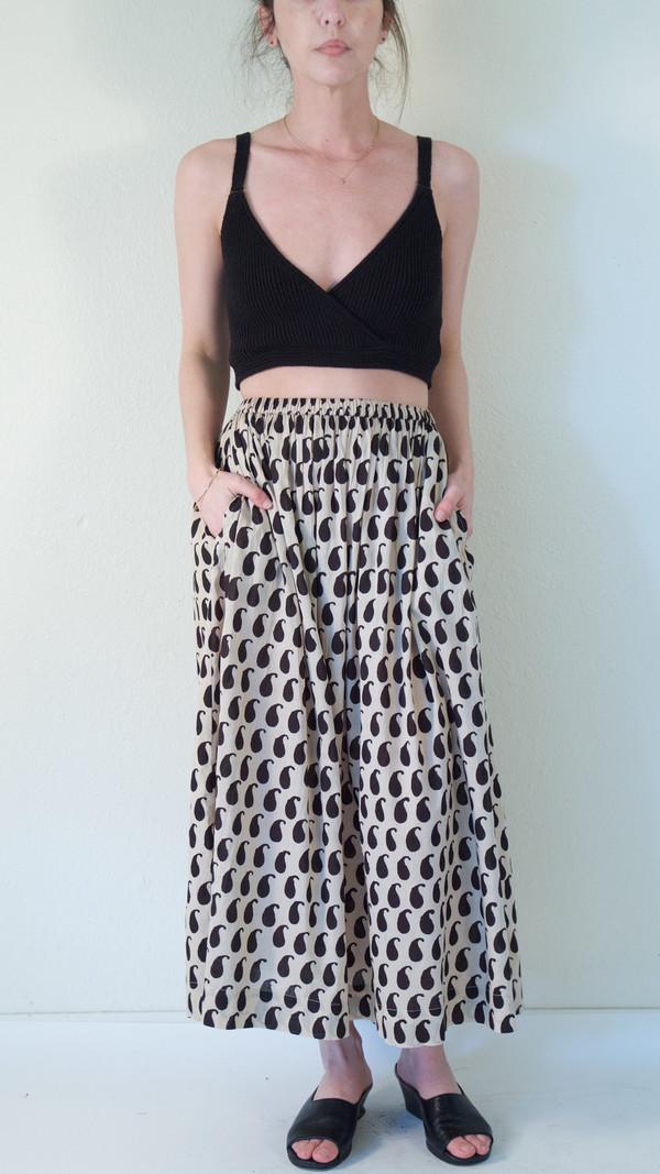 Pari Desai Monsoon Block Printed Skirt in Buttermilk/Ebony