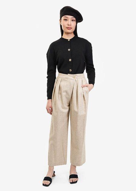 AMOMENTO Wool Wrap Pants - Beige