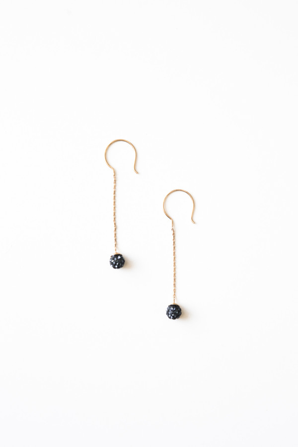 Jorge Morales Gold Plated Brass Ball Earring - Blue