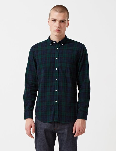Portuguese Flannel Bonfim Checked Flannel Shirt - Navy Blue/Green