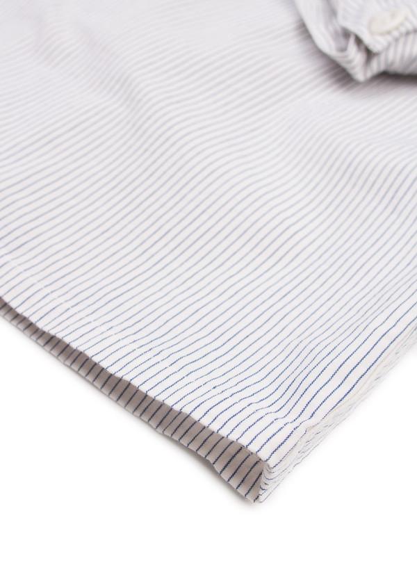 Men's MHL Margaret Howell Inverted Pleat Shirt Narrow Stripe Ecru/Blue
