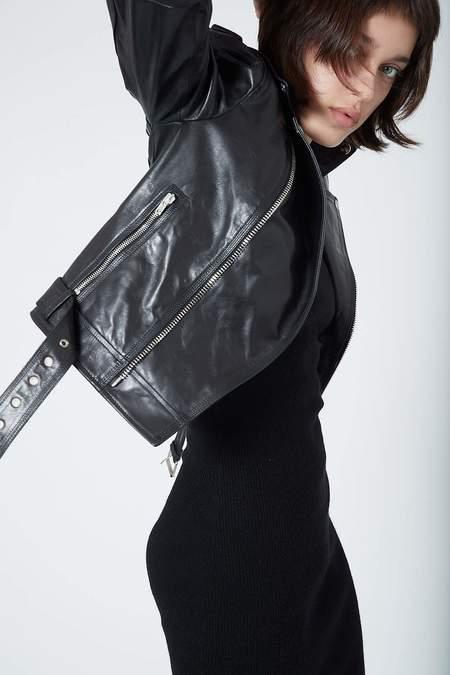 Isabel Benenato Leather Jacket - black