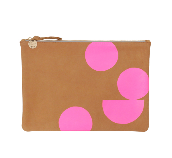 Camel and Pink Neon Dot Flat Clutch by Clare V.