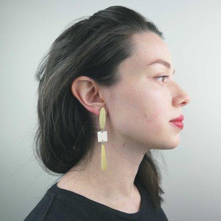 Natalie Joy Gunta Earrings - Brass/Silver
