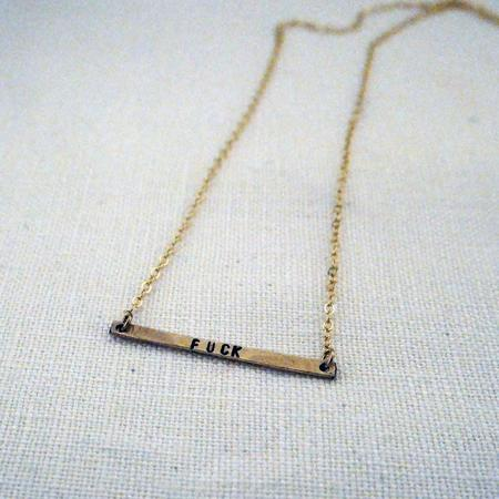 The Artist and the Alchemist Stamped Horizontal Bar Necklace - F*ck
