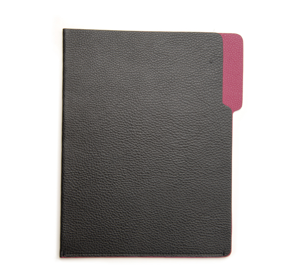 Hayden Leather Grey and Fushcia Leather File Folder