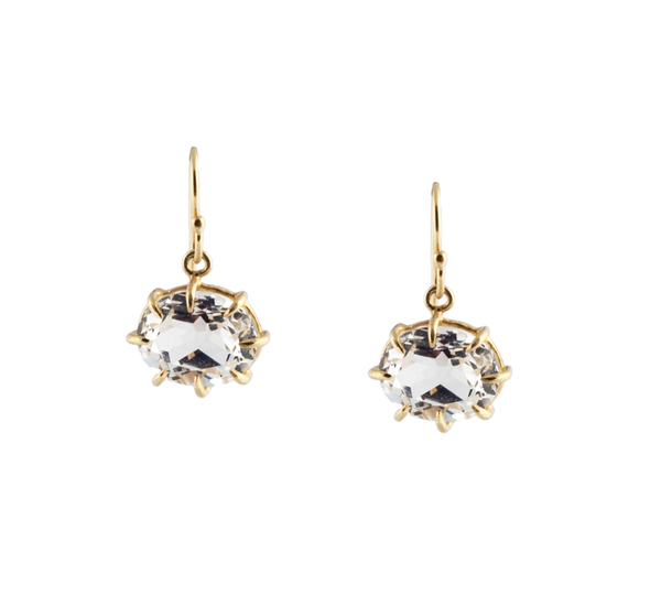 Rosanne Pugliese 18K Faceted Small White Topaz Oval Earring