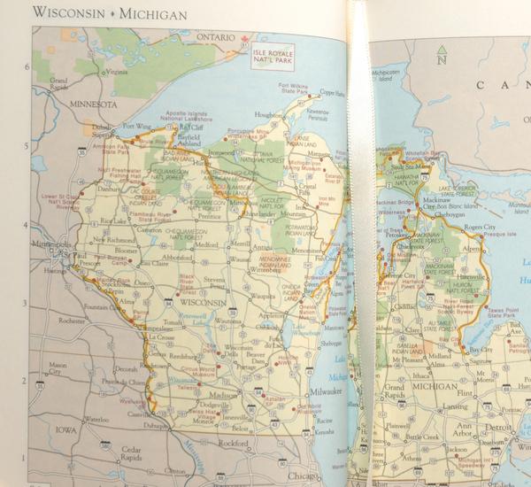Hayden Leather Red America Atlas Book