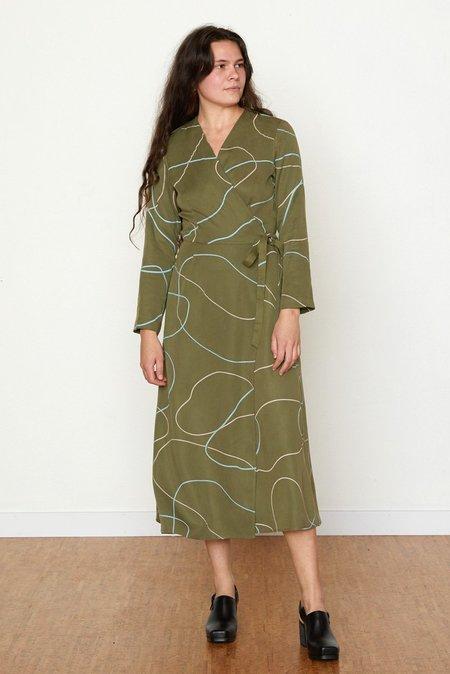 North Of West Stones Louisa Wrap Dress - Avocado