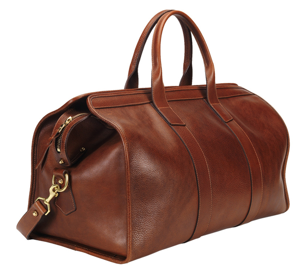 Lotuff Leather Chestnut Leather Duffle Travel Bag