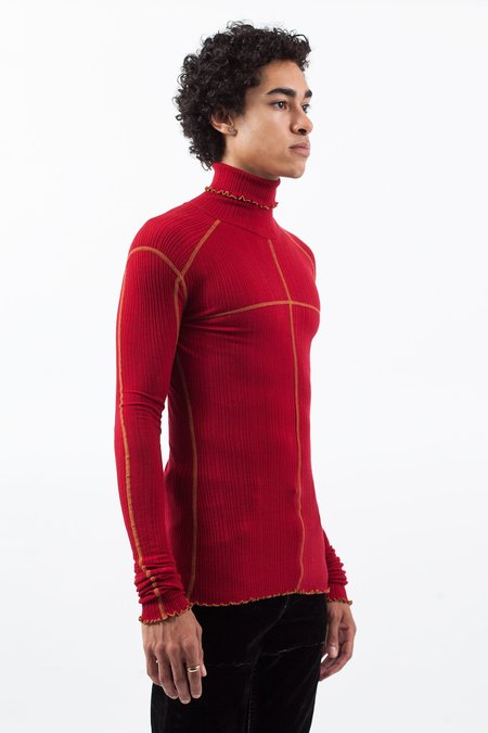 Christian Dada Ribbed Jersey Turtleneck - Red