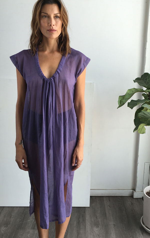 two-nyc Purple drawstring dress