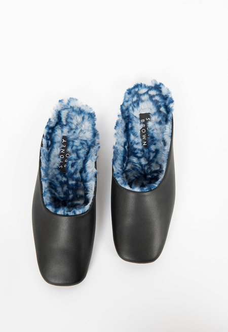 Sydney Brown Square Toe Slide w/ Blue Faux Shearling - Black