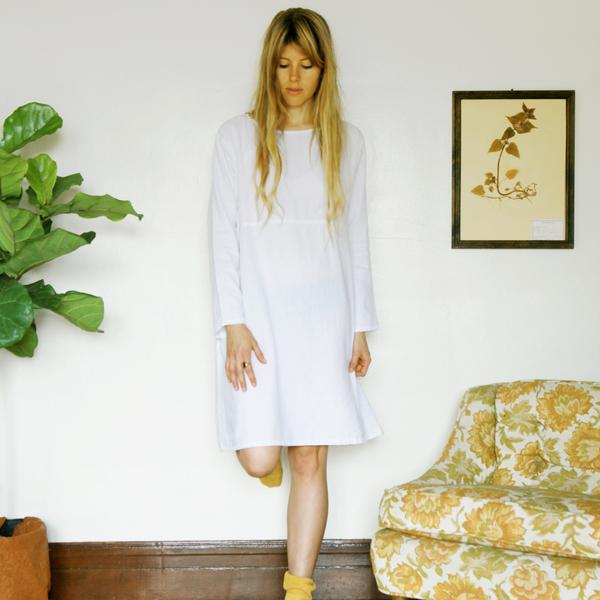 Unknown LS Basic Dress<br>White