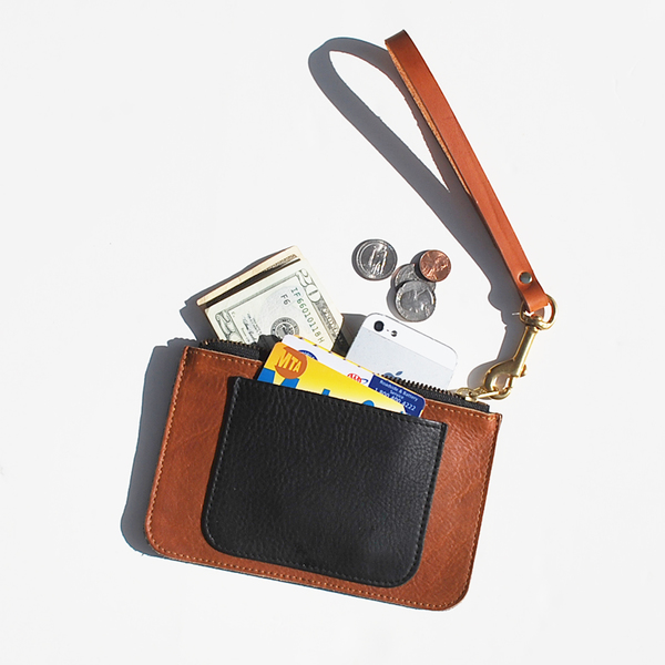 Unknown All-in-One Pouch/Wallet <br>Oiled Leather Brown/Black<br>