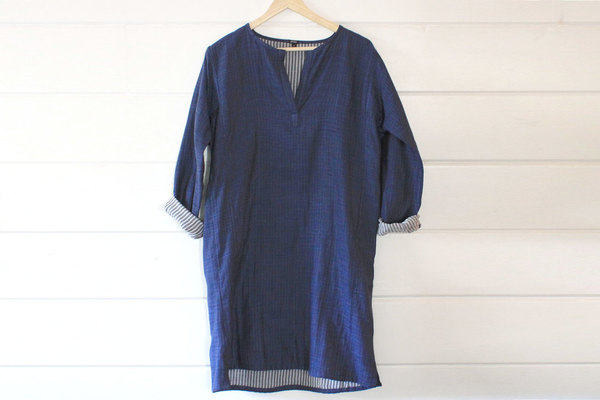 pietsie Atlas Tunic in Indigo with Stripe Lining