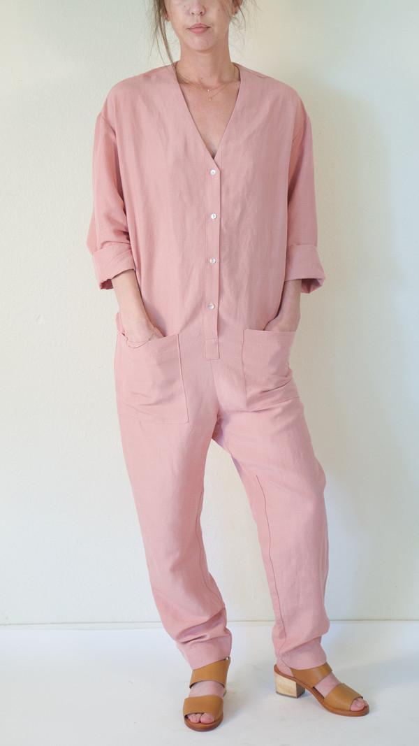 Horses Atelier V-Neck Patch Pocket Jumpsuit in Pink