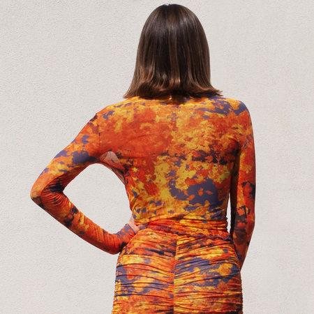 Priscavera Long Sleeve Mesh Top in Lava