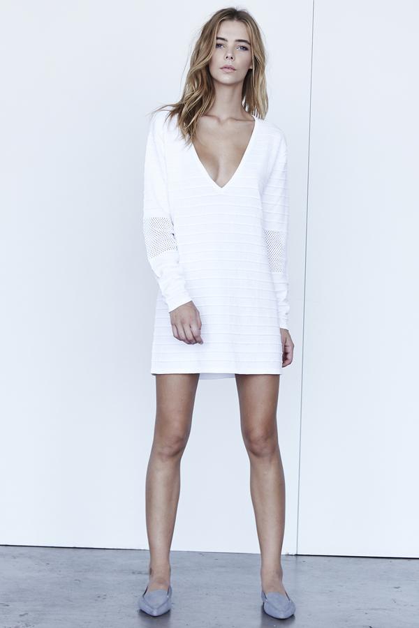 Callahan Perforated V Neck Mini Dress