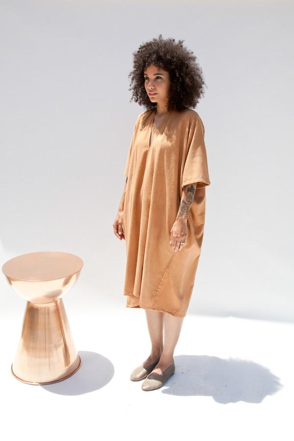 Miranda Bennett Muse Dress, Oversized, Silk Noil in Camel