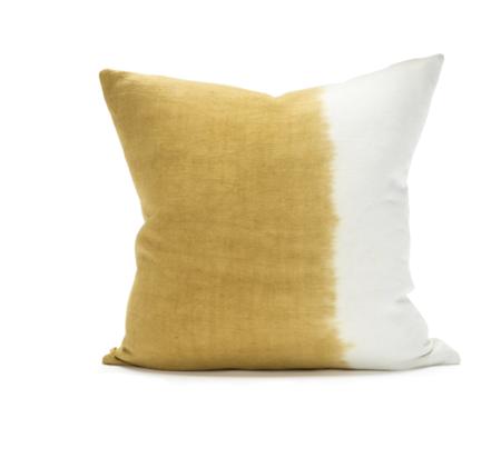 Sugar Feather Dip Dye Pillow - Ochre