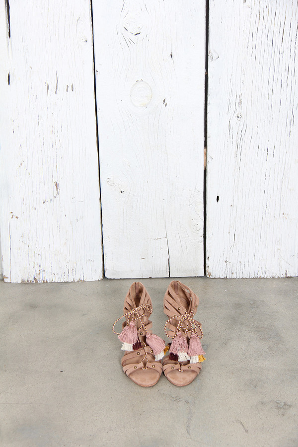 ULLA JOHNSON NATI CAGED HEEL IN TAUPE SUEDE