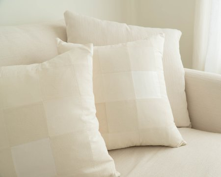Bianca & Red Agnes Quilted Silk Pillow Cover - Creamy White