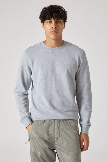 Sunspel Crew Neck Fleece Sweatshirt - Grey Melange