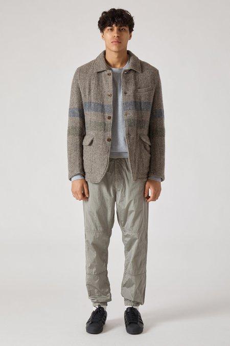 TS(S) Border Stripe Wool Cotton Shirt Collar Jacket - Gray