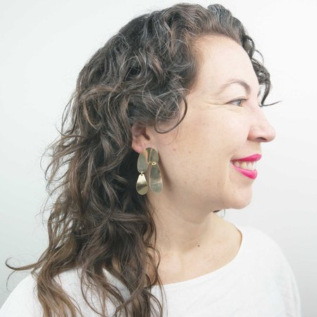 Fade into the Abstract Float Earrings - Brass