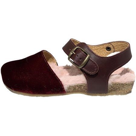 Kids pèpè velluto fur lined velvet sandal - bordeaux/pink