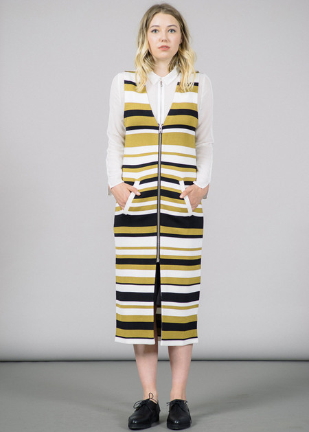 Ganni Francis Zip-Up Stripes Dress