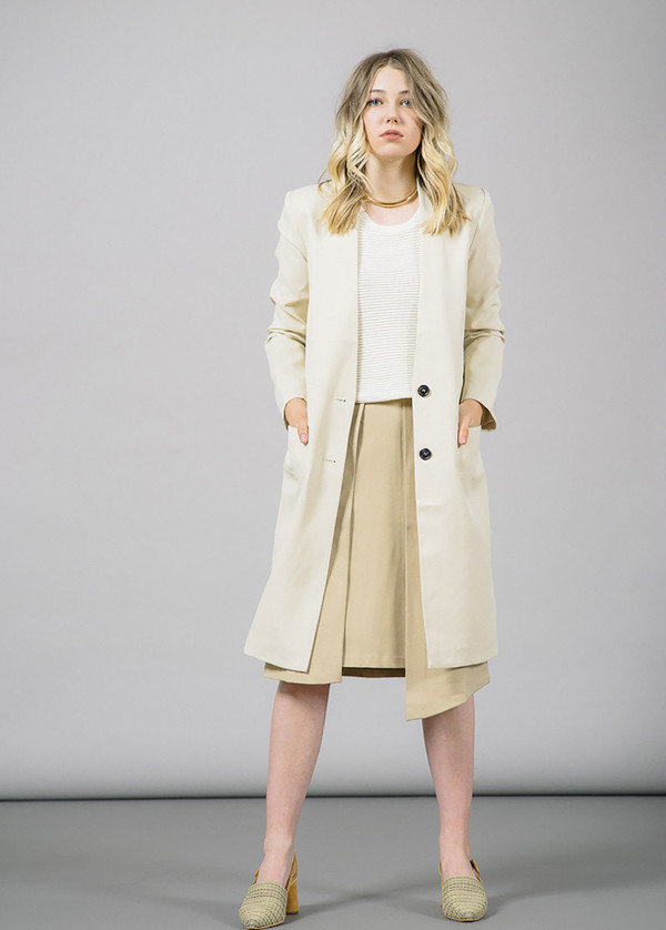 Whyred Olympia Long Coat with Zipper Slit Pockets