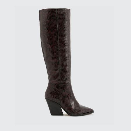 Dolce Vita Snake Print Leather Boot - Espresso