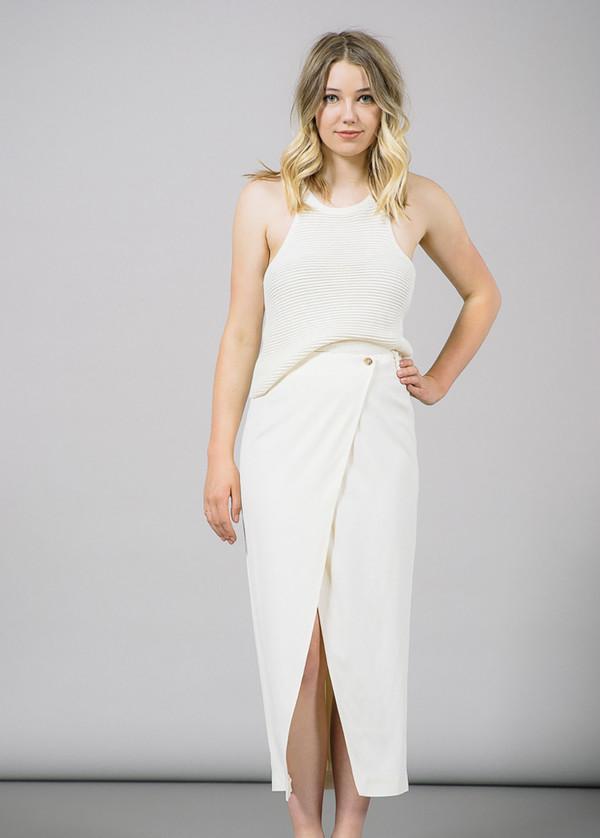Ganni White Tailor Pencil Skirt