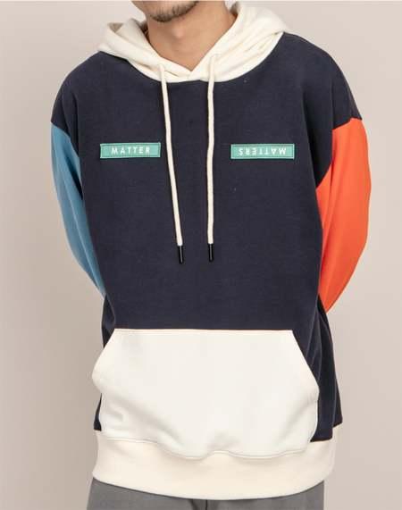 Unisex MATTER MATTERS Colourblock hoodie - Navy Multi