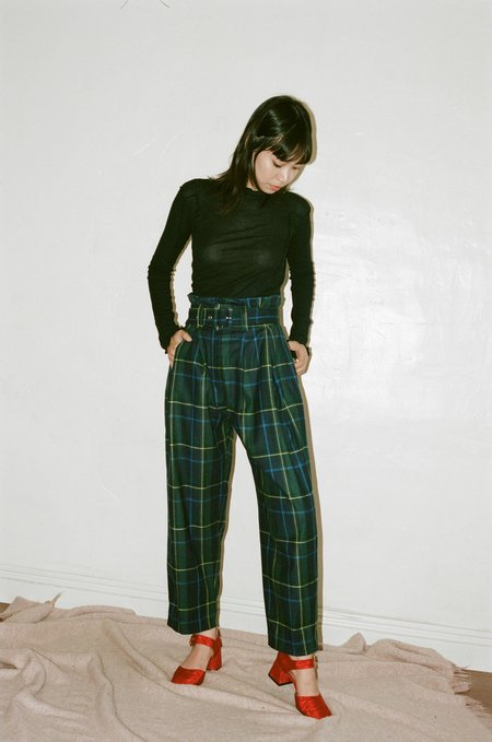 Suzanne Rae Plaid Wool Paperbag Trousers in Green