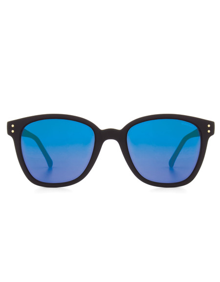Komono Renee Sunglasses Black Rubber Blue Mirror
