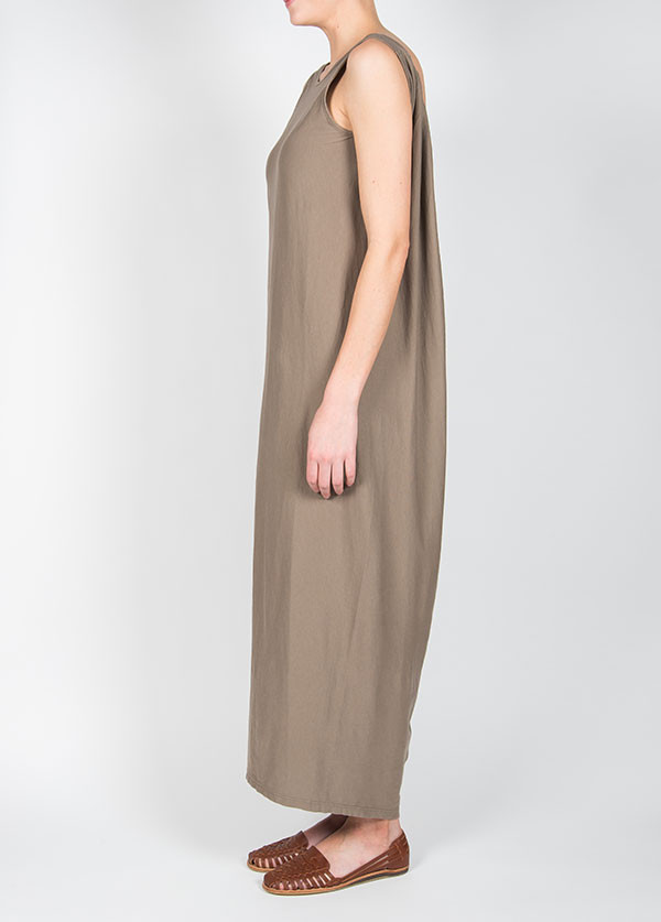 Black Crane Long Gathered Dress in Light Grey