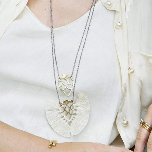 Krysos + Chandi Jya Cream Tassel Necklace