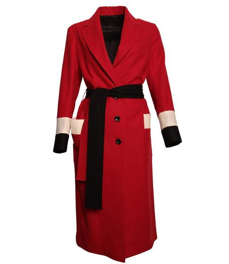 Loden Tal Oversized Boxer Coat - Red