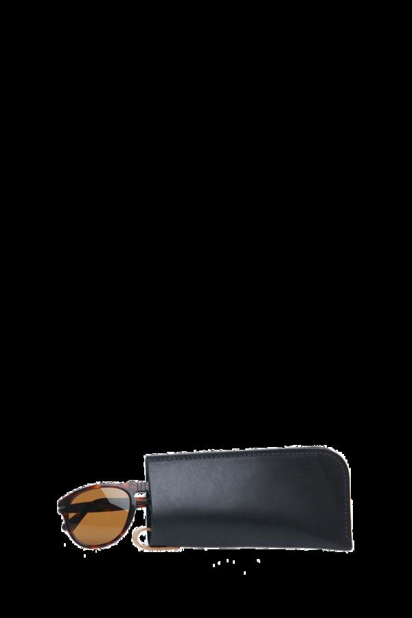 Eyeglass sleeve black leather