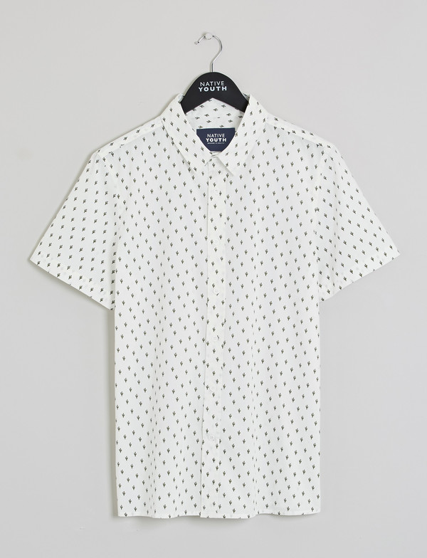 Men's Native Youth Cacti Print Short-Sleeved Shirt