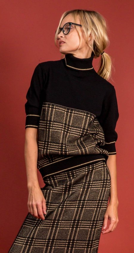 D.Exterior D. Exterior Funnel Neck Sweater - Black/Gold Pattern